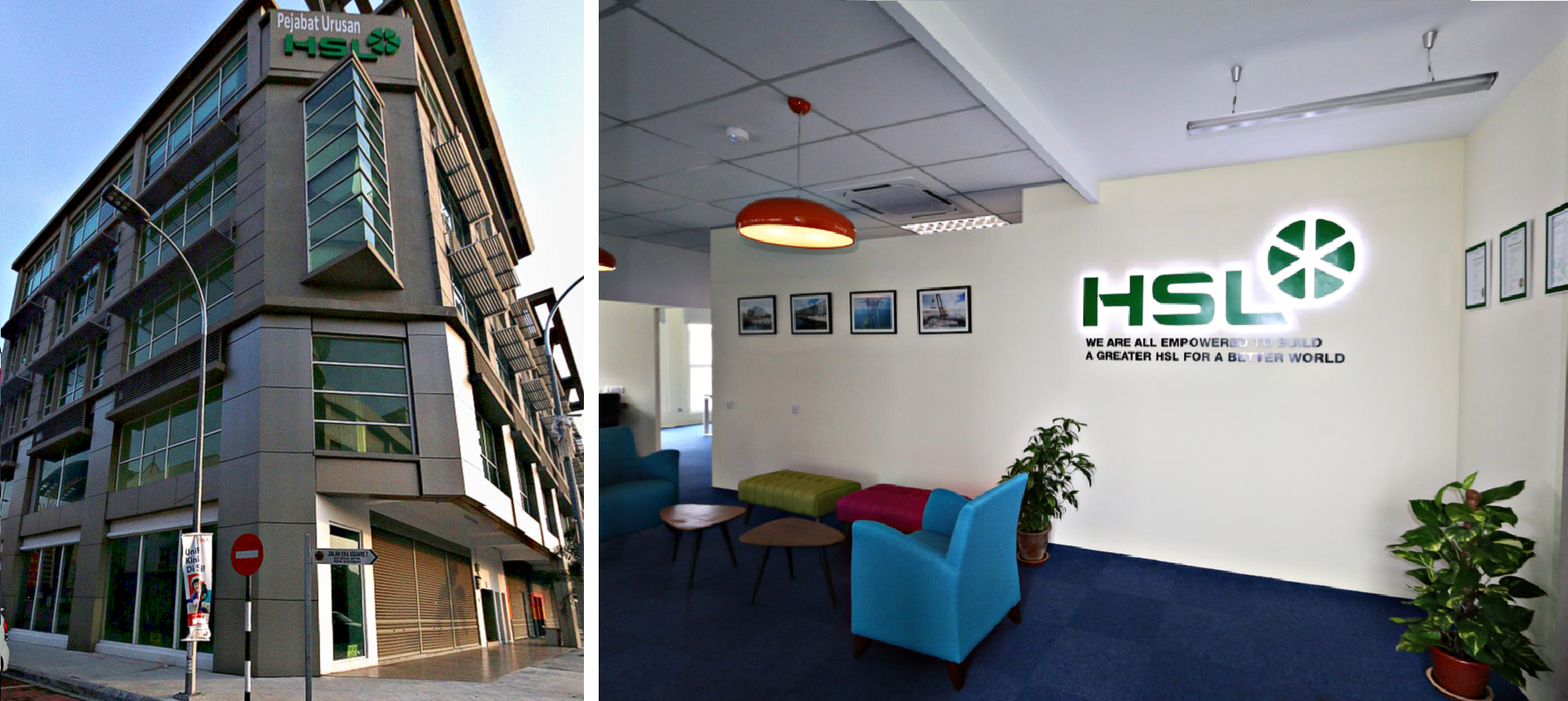 Exterior and interior view of HSL Constructor Offic